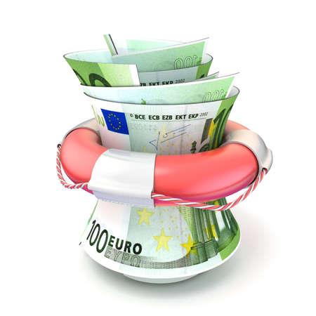 money roll: Red lifebuoy saving money, roll euro. 3D render illustration isolated on white background Stock Photo