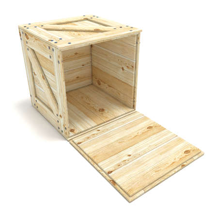 Open wooden box. 3D render illustration isolated on white background Фото со стока