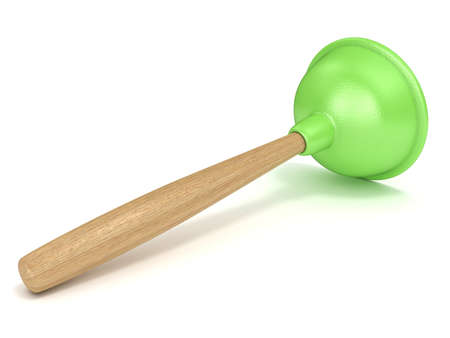 taking the plunge: Green rubber toilet plunger. 3D render illustration isolated on white background Stock Photo