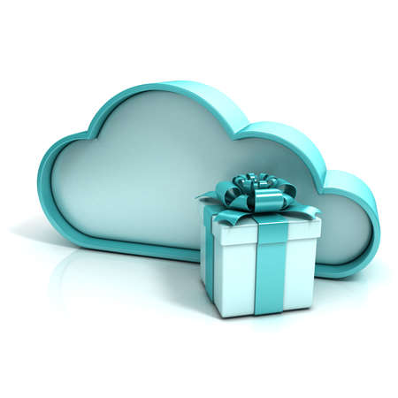 Cloud with gift box. Free additional storage. 3D computer icon isolated Reklamní fotografie