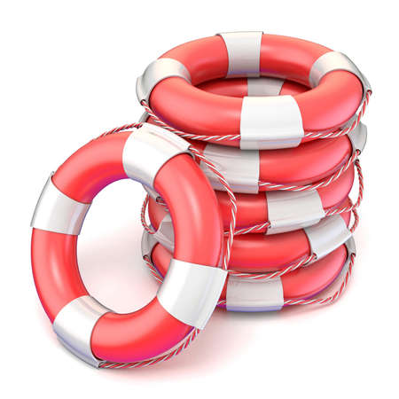 Lifebuoys. 3D render illustration isolated on white background