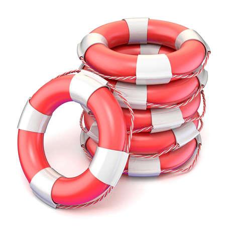 preserver: Lifebuoys. 3D render illustration isolated on white background