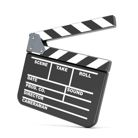 Movie clapperboard. 3D render illustration isolated on white background