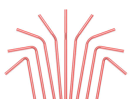 bendy straw: Drinking straws isolated on a white background. 3D render illustration. Stock Photo