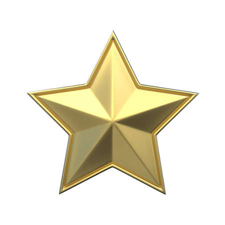 jewell: Single gold star. 3D render illustration isolated on white background Stock Photo