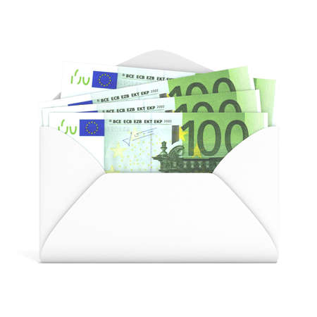 gratuity: Euros in envelope. Front view. 3D render illustration isolated on white background
