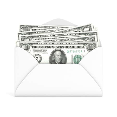 remittance: Dollars in envelope. Front view. 3D render illustration isolated on white background