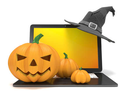 Laptop with funny Jack O Lantern and Halloween witch hat. 3D render illustration isolated on white background
