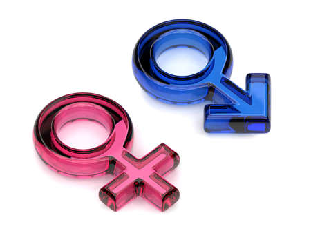 Male and female sex symbols. Transparent gems. 3D render illustration isolated on white background