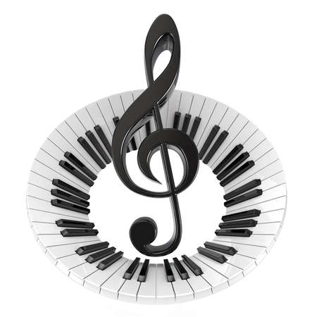 music symbol: Treble clef in abstract piano keyboard. Symbol of music. 3D render illustration isolated on white background Stock Photo