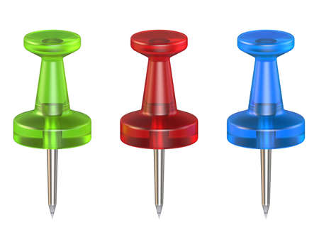 fixation: Color push pins. Front view. 3D render illustration isolated on white background