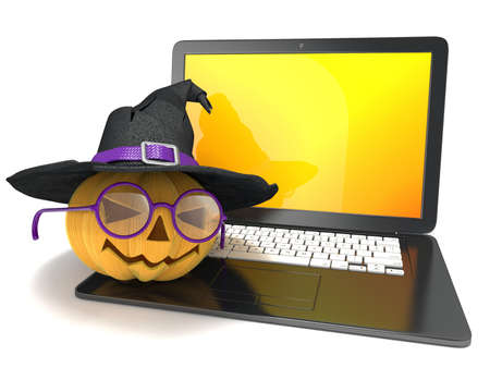 witchery: Laptop with funny Jack O Lantern and Halloween witch hat. 3D render illustration isolated on white background