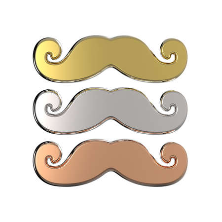 gold facial: Gold, silver and bronze mustache. 3D render illustration isolated on white background