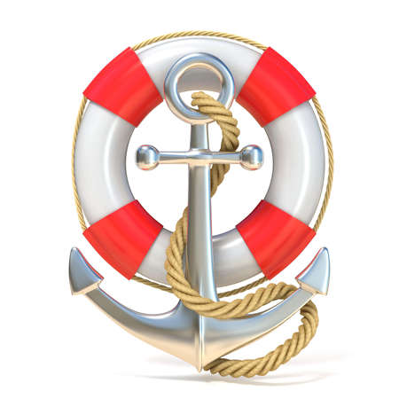 anchor background: Anchor, lifebuoy and rope. 3D render illustration isolated on white background