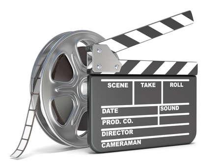 영화 릴과 영화 했 보드입니다. 비디오 아이콘입니다. 그림 3D 렌더링 흰색 배경에 고립 스톡 콘텐츠