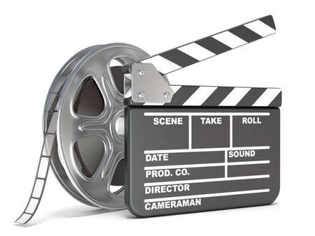 film: Film reel and movie clapper board. Video icon. 3D render illustration isolated on white background