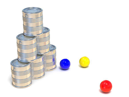 knockdown: Tin cans and three balls. Side view. 3D illustration isolated on white background Stock Photo