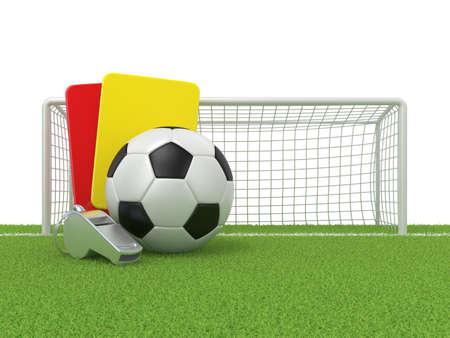 arquero futbol: concepto del fútbol. Pena de tarjeta (rojo y amarillo), silbato de metal y el fútbol (balompié) y la puerta, 3d aislado en el fondo blanco.