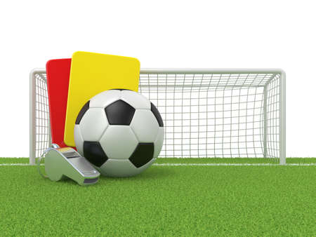 soccer field: Football concept. Penalty (red and yellow) card, metal whistle and soccer (football) ball and gate, isolated 3D render on white background.