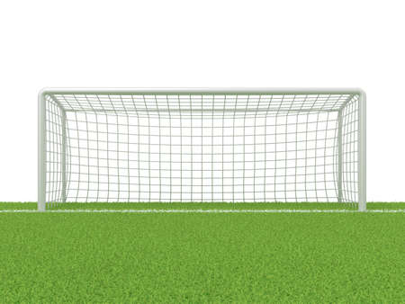 grass line: Football - soccer gate on grass. 3D render illustration isolated on white background Stock Photo