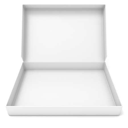 Empty white box. Front view. 3D render illustration isolated on white background