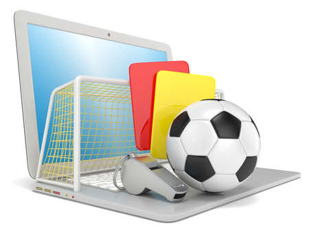penalty card: Football concept. Penalty (red and yellow) card, metal whistle, soccer (football) ball and gate on laptop, isolated 3D render on white background.