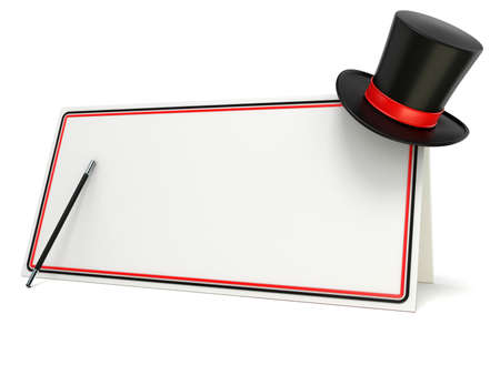 show: Magic wand and hat on blank board with black and red border. 3D render illustration isolated on white background Stock Photo