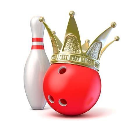 corona d'oro sulla palla da bowling e pin. 3D render illustrazione isolato su sfondo bianco