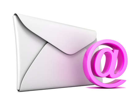 business connection: Envelope and pink email symbol. 3D render illustration isolated on white background