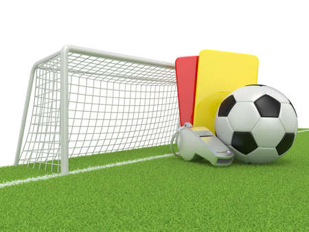 penalty card: Football concept. Penalty (red and yellow) card, metal whistle and soccer (football) ball and gate, isolated 3D render on white background Stock Photo