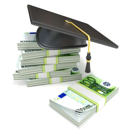 valedictorian: Education concept. Graduation cap on stack of euro bills. 3D rendering illustration isolated on white background.