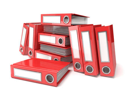 looseleaf: Batch of binders, red office folders. 3D render illustration isolated on white background