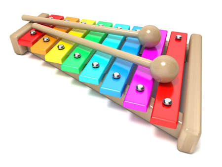 Xylophone with rainbow colored keys and with two wood drum sticks. 3D render isolated on white background. Wooden toy. Percussion instrument. Music art creation concept