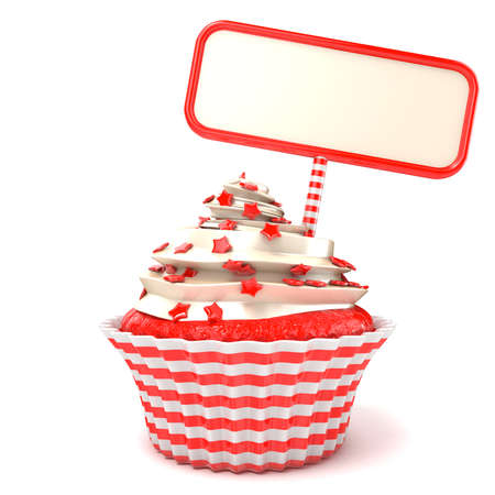 unhealthy food: Strawberry cupcake and blank board. 3D render illustration isolated on white background Stock Photo