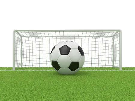 Football - soccer ball in front of goal gate on grass. 3D render illustration isolated on white background Reklamní fotografie - 48557447