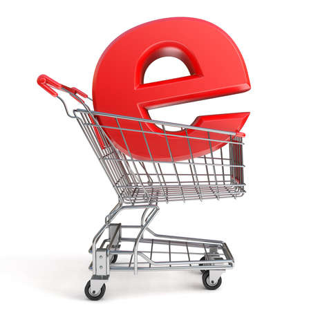 eshop: Shopping cart and E symbol. E-shop concept. 3D render illustration isolated on white background