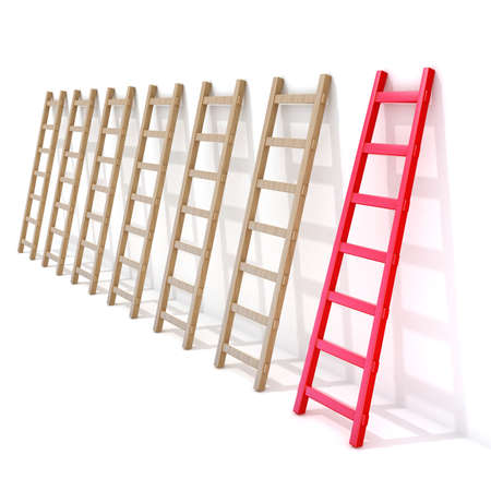 Seven wooden ladders leaning against a wall, one is red. 3D rendering illustration isolated on white background