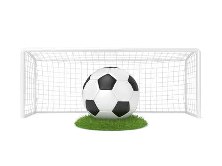 front gate: Football - soccer ball in front of goal gate on grass circle. 3D render illustration isolated on white background