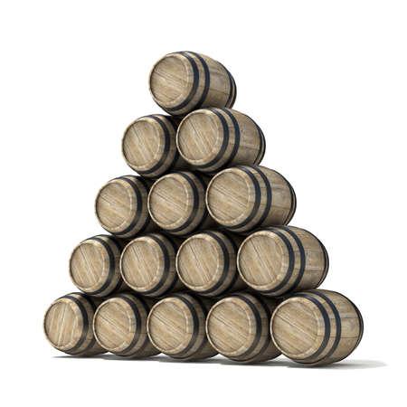ferment: Group of wooden wine barrels. 3D render illustration isolated over white background