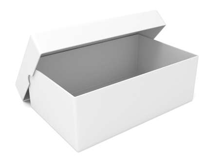 retail store: Empty white, opened box, 3D render illustration isolated on white background Stock Photo