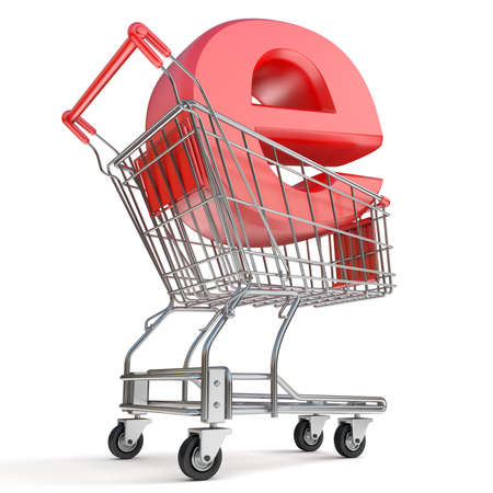 e cart: Shopping cart and E symbol. E-shop concept. 3D render illustration isolated on white background