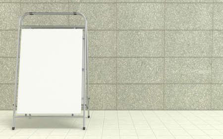 blank space: Blank white advertising stand, with copy space board in front of concrete wall. 3D illustration isolated on white background