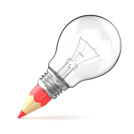 Pencil light bulb as creative concept. 3D render illustration isolated on white background