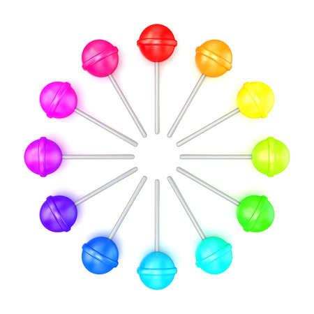 candy stick: Colorful lollipops, circle arranged. Top view. 3D render illustration isolated on white background Stock Photo
