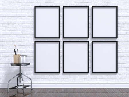 Mock up fotolijst met een tafel, vloer en wand. 3D illustratie renderen
