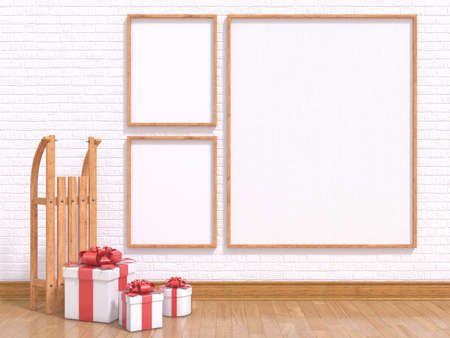 Mock up poster with wooden sledge and Christmas presents. 3D render illustration Imagens