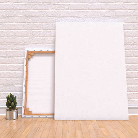Mock up canvas frame with plant, floor and wall. 3D render illustration Stock Photo