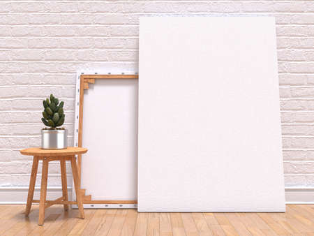Mock up canvas frame with plant, floor and wall. 3D render illustration Фото со стока