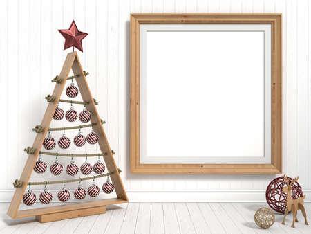 Mock up blank picture frame, Christmas decoration. 3D render illustration