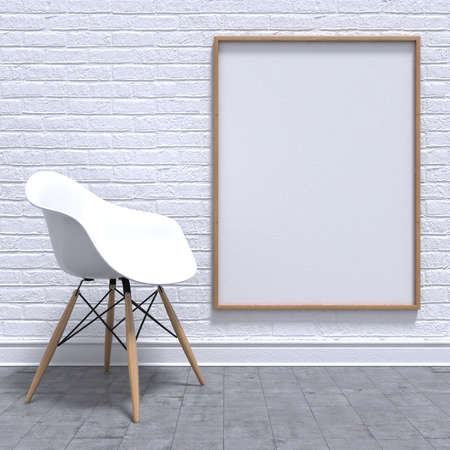 Blank white photo frame with chair. Mock-up render illustration